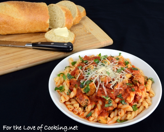 Sausage, Mushroom, and Basil Marinara over Gemelli