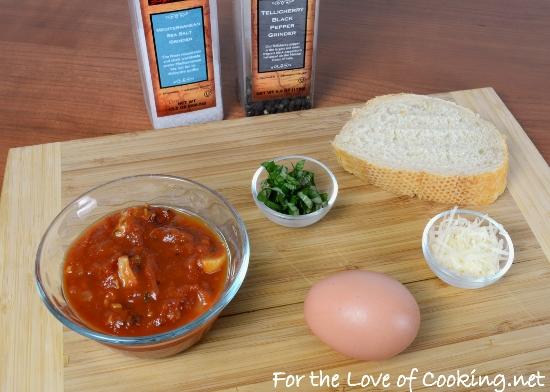 Baked Egg with Sausage, Mushroom, and Basil Marinara on Toast
