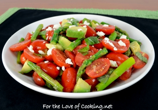 Cherry Tomato, Asparagus, and Avocado Salad Topped with Basil and Feta ...
