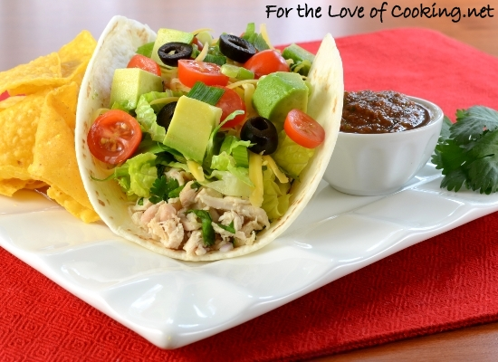 Chicken Soft Tacos with Avocado and Sharp Cheddar