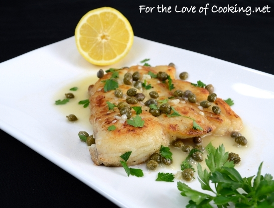 Halibut with Lemon Caper Sauce
