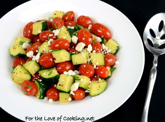 Roasted Grape Tomatoes and Zucchini Topped with Feta and Chives