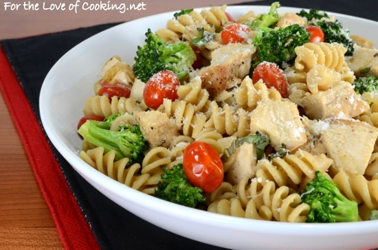 Rotini Pasta With Chicken Broccoli Tomatoes Parmesan And Fresh
