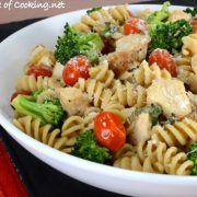 Rotini Pasta with Chicken, Broccoli, Tomatoes, Parmesan, and Fresh Basil