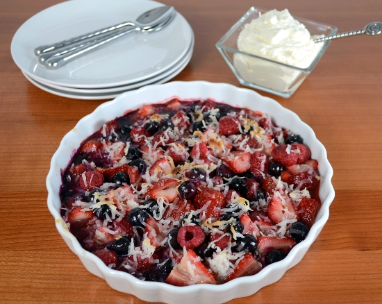 Baked Berries with Lemon Curd and Coconut Topped with Homemade Whipped Cream
