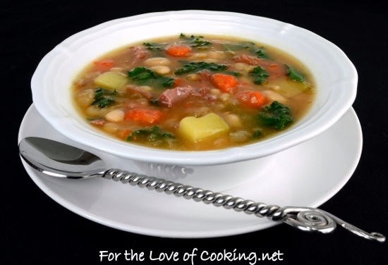 White Bean, Kale, Potato, and Ham Soup