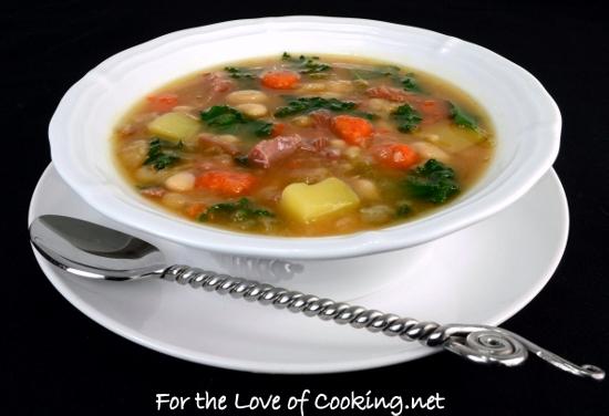 White Bean, Kale, Potato, and Ham Soup