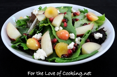 Mixed Greens with Rainier Cherries, Nectarine, Feta Cheese and a White Balsamic Vinaigrette