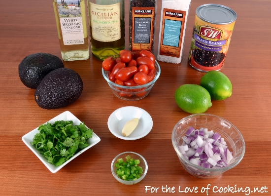 Black Bean Salad with Avocado, Tomatoes, Red Onion, and Cilantro