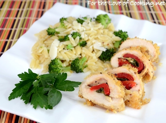 Roasted Pepper, Spinach, and Sharp Cheddar Stuffed Chicken Breast