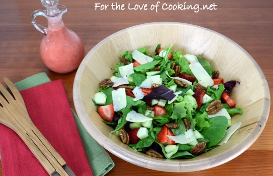 Mixed Greens with Strawberries, Extra Sharp White Cheddar, and Candied Pecans with a Strawberry Balsamic Vinaigrette