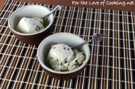 Homemade Banana Ice Cream with Mini Chocolate Chips and Coconut