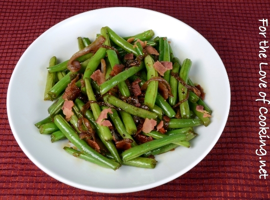 Soy and Garlic Green Beans with Bacon and Caramelized Red Onions