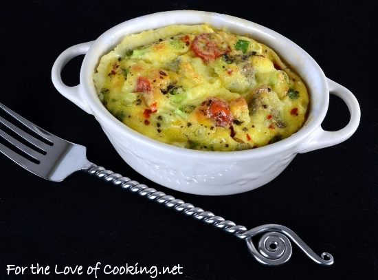 Mini Baked Frittata with Turkey Sausage, Extra Sharp Cheddar, and Tomatoes