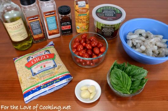 Garlic and Basil Shrimp and Tomatoes over Orzo