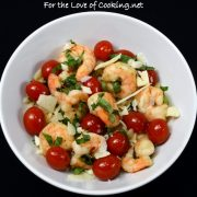 Garlic and Basil Shrimp and Tomatoes over Orzo
