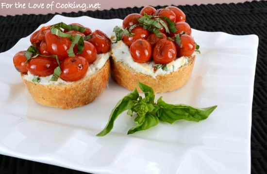 Blistered Tomato and Ricotta Bruschetta with Fresh Basil