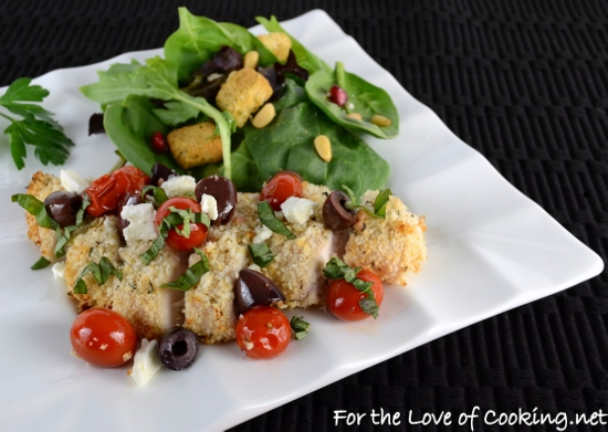 Greek Style Panko Crusted Chicken Breasts topped with Tomatoes, Kalamata Olives, Feta, and Basil