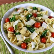 Orecchiette with Asparagus, Grape Tomatoes, Spinach, and Parmesan