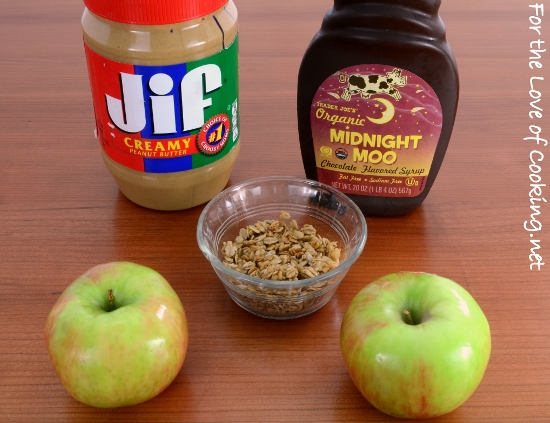 Chocolate-Peanut Butter Granola Apple Bites