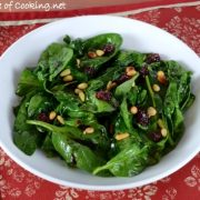 Wilted Spinach with Dried Cherries and Pine Nuts