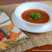 Spicy Roasted Red Pepper and Tomato Soup with Basil