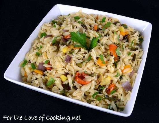 Garlicky Orzo with Roasted Vegetables | For the Love of Cooking