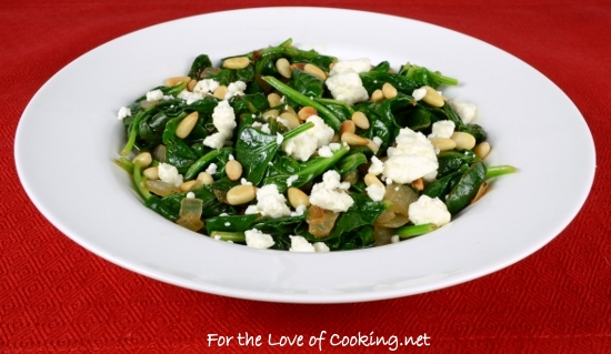 Lemony Spinach with Feta and Pine Nuts