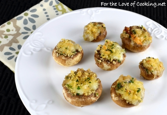 Brie Stuffed Mushrooms Topped with Garlicky Panko | For the Love of ...