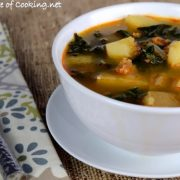 Portuguese Caldo Verde - Soup with Potatoes, Kale, and Chorizo