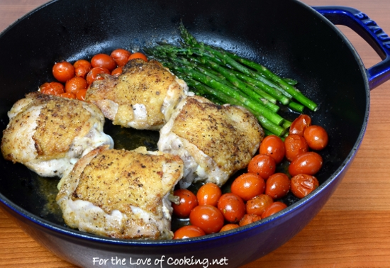 simple chicken thighs with roasted asparagus and tomatoes a one pot