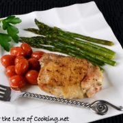 Simple Chicken Thighs with Roasted Asparagus and Tomatoes - A one pot meal
