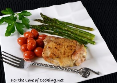 Simple Chicken Thighs with Roasted Asparagus and Tomatoes…A one pot meal!