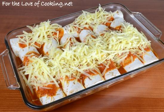 Pork Tenderloin and Caramelized Onion Enchiladas in a Homemade Enchilada Sauce