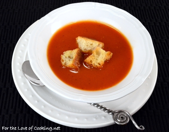 Fire Roasted Tomato Soup with Homemade Croutons
