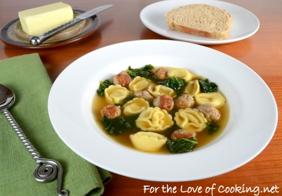 Cheese Tortellini Soup with Turkey Italian Sausage and Kale
