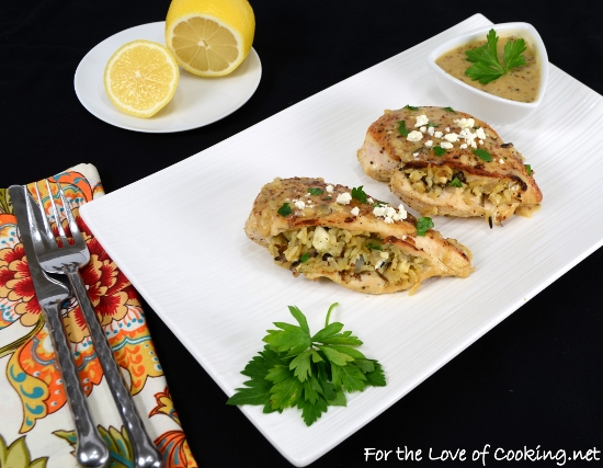 Rice and Mushroom Stuffed Chicken Breasts with a Lemon Mustard Sauce