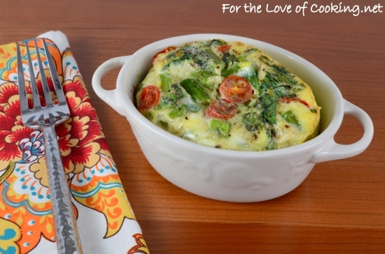 Veggie Mini Frittata with Asparagus, Tomato, Spinach, and Extra Sharp ...