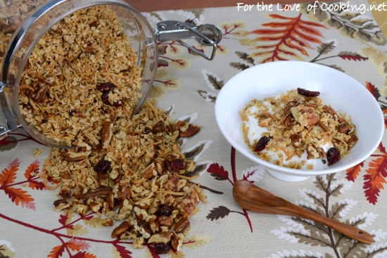 Pecan, Coconut, and Cherry Granola | For the Love of Cooking