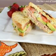 Turkey, Sharp Cheddar, Tomato, and Avocado Panini with Basil Mayonnaise
