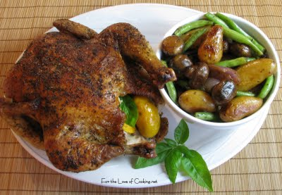 Roasted Chicken with Fingerling Potatoes, Mushrooms and Green Beans