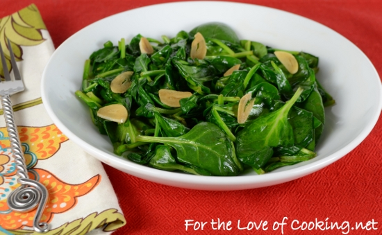 Sesame Garlic Wilted Spinach | For the Love of Cooking