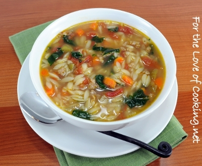 Spinach and Turkey Italian Sausage Soup with Veggies and Orzo