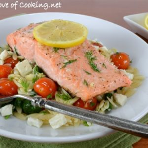 Lemon and Dill Salmon with Sautéed Tomato, Spinach, and Feta Orzo