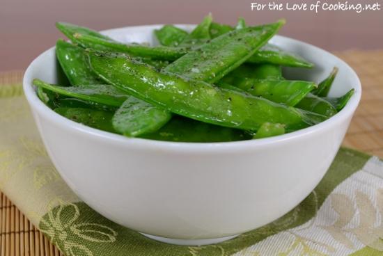 Garlicky Snow Peas