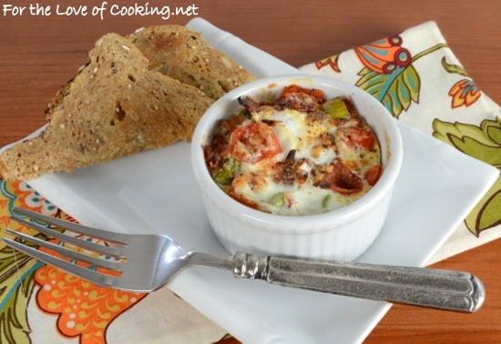 Baked Egg with Bacon, Asparagus, Tomato, and Extra Sharp Cheddar