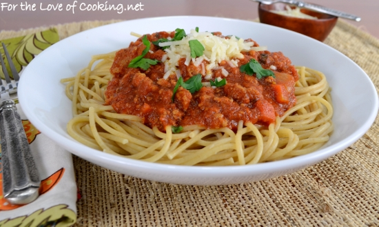 Whole Wheat Spaghetti With A Slow Simmered Meat Sauce Recipe ...
