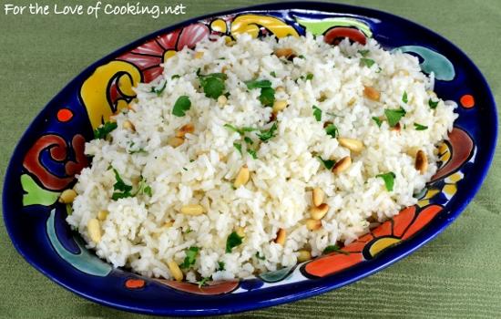 Basmati Rice with Garlic, Pine Nuts, and Fresh Parsley