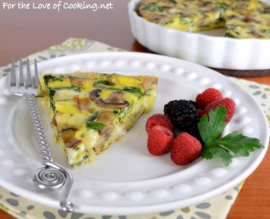 Baked Caramelized Mushroom, Onion, Spinach, and Swiss Cheese Frittata