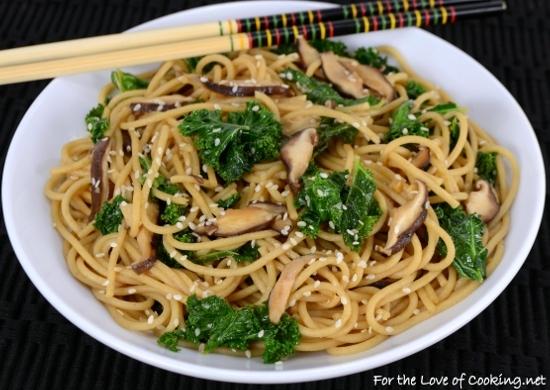 Sesame Noodles with Sautéed Shiitake Mushrooms and Kale